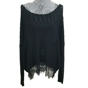 DECREE black oversized off-shoulder lacy top NEW